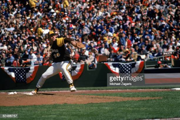 Gaylord Perry of the San Diego Padres pitches against the San Francisco Giants during a game in April 1979 at Candlestick Park in San Francisco...