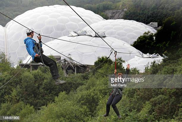 Gaynor Coley Eden Project's Chief Executive waves as she tries out the SkyWire the new zip wire attraction which opens to the public this week at The...