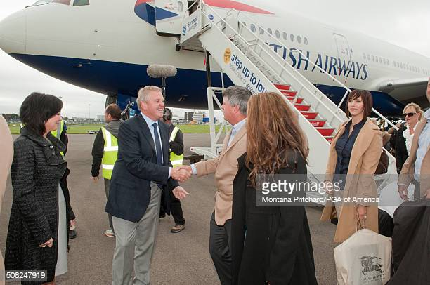 Gaynor Montgomerie and Colin Montgomerie greet the USA Team Members at the 38th Ryder Cup at the Cardiff Airport in Cardiff Wales on Monday September...
