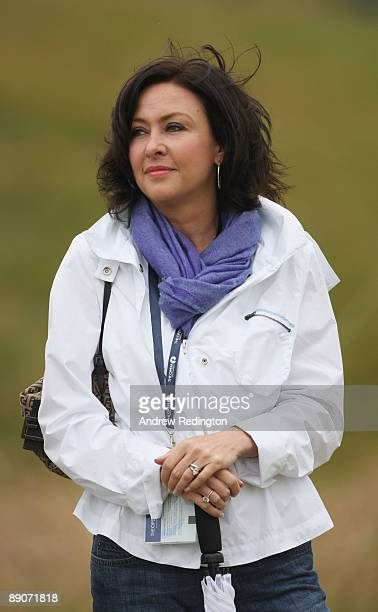 Gaynor Montgomerie, wife of Colin Montgomerie watches the action during round two of the 138th Open Championship on the Ailsa Course, Turnberry Golf...