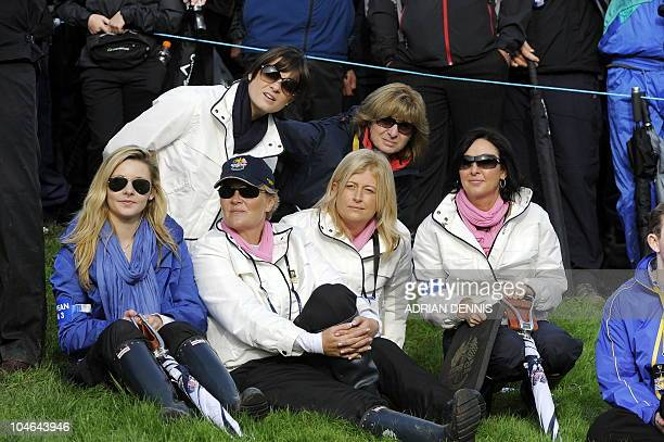Gaynor Montgomerie wife of Europe Ryder Cup captain Colin Mongomerie sits with other wives and girlfriends of European golfers during the opening...