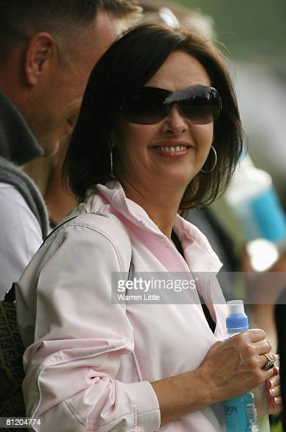 Gaynor Montgomerie wife of Scottish golfer Colin Montgomerie watches on during Day 1 of the BMW PGA Championship at Wentworth on May 22, 2008 in...