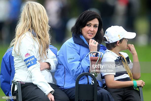 Gaynor Montgomerie wife of the European team captain watching the 2010 Ryder Cup at the Celtic Manor Resort on October 1 2010 in Newport Wales