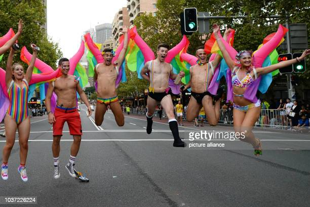 Gays lesbians and supporters are out in colourful costumes to celebrate the yearly Mardi Gras Parade in Sydney Australia 04 March 2017 Photo Subel...