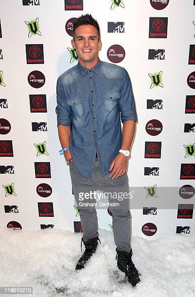 Gaz Beadle from British reality show 'Geordie Shore' arrives at the MTV Snow Jam 2011 VIP launch event on July 14 2011 in Melbourne Australia