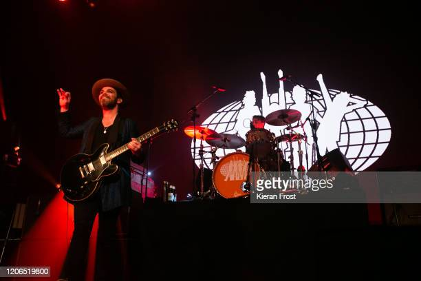 Gaz Coombes and Danny Goffey of Supergrass perform at Olympia Theatre on February 15, 2020 in Dublin, Dublin.