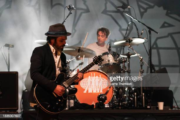 Gaz Coombes and Danny Goffey of Supergrass perform at South Facing Festival on August 20, 2021 in London, England.
