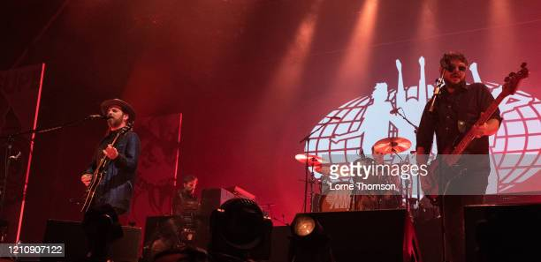 Gaz Coombes and Mick Quinn of Supergrass perform at Alexandra Palace on March 06, 2020 in London, England.