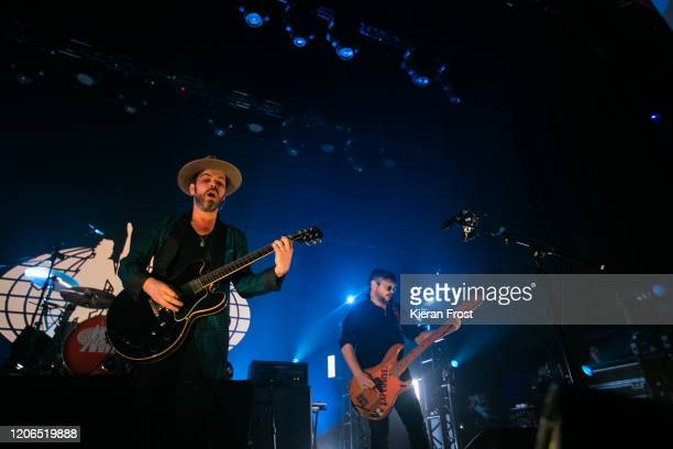 Gaz Coombes and Mick Quinn of Supergrass perform at Olympia Theatre on February 15, 2020 in Dublin, Dublin.