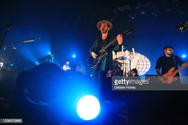 Gaz Coombes and Mick Quinn of Supergrass perform at Olympia Theatre on February 15, 2020 in Dublin, Ireland.