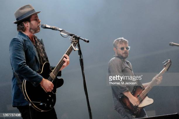 Gaz Coombes and Mick Quinn of Supergrass perform at Virgin Money Unity Arena on August 22, 2020 in Newcastle upon Tyne, England.