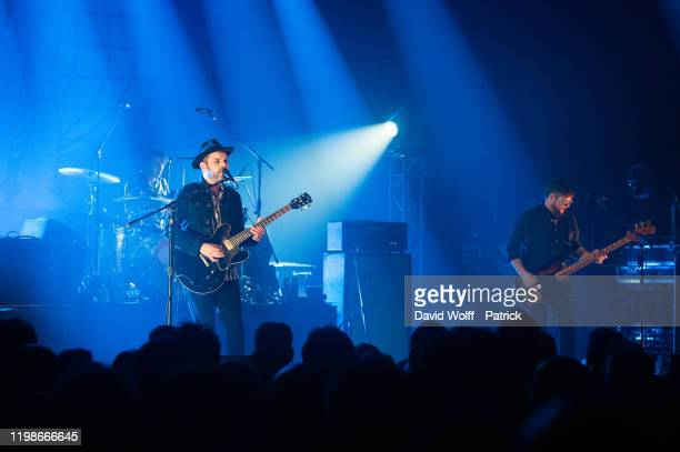 Gaz Coombes, Danny Goffey, and Mick Quinn from Supergrass perform at Casino de Paris on February 4, 2020 in Paris, France.