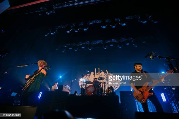 Gaz Coombes, Danny Goffey and Mick Quinn of Supergrass perform at Olympia Theatre on February 15, 2020 in Dublin, Dublin.