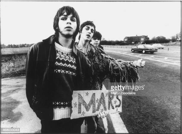 Gaz Coombes, Danny Goffey and Mickey Quinn of Supergrass, group portrait, attempt to hitchhike to Mars, Oxford, United Kingdom, October 1994.