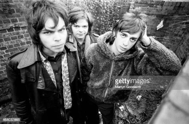 Gaz Coombes, Mickey Quinn and Danny Goffey of Supergrass, group portrait, Oxford, United Kingdom, 1994.