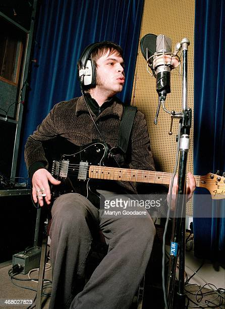 Gaz Coombes of Supergrass, at Rockfield Studios in Wales during the recording of 'Life On Other Planets', United Kingdom, 2002.