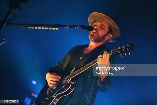 Gaz Coombes of Supergrass perform at Olympia Theatre on February 15, 2020 in Dublin, Ireland.