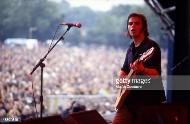 Gaz Coombes of Supergrass, performs on stage at Glastonbury Festival, United Kingdom, 1997.