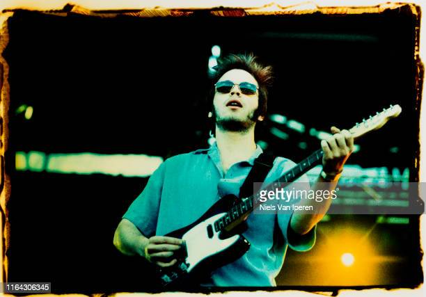 Gaz Coombes, Supergrass, performing on stage, Pinkpop '97, Landgraaf, Netherlands, 19th May 1997.
