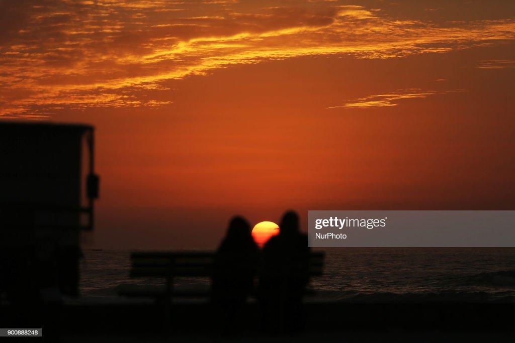 Gaza Port at sunset 3-1-2018