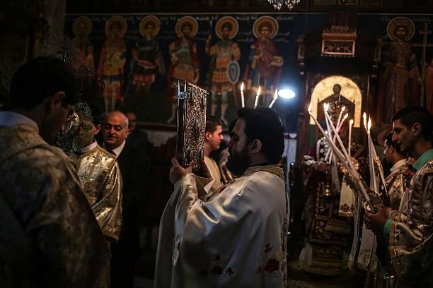 gazas greek orthodox archbishop alexios leads an orthodox christmas mass at the greek orthodox church in - Greek Orthodox Christmas