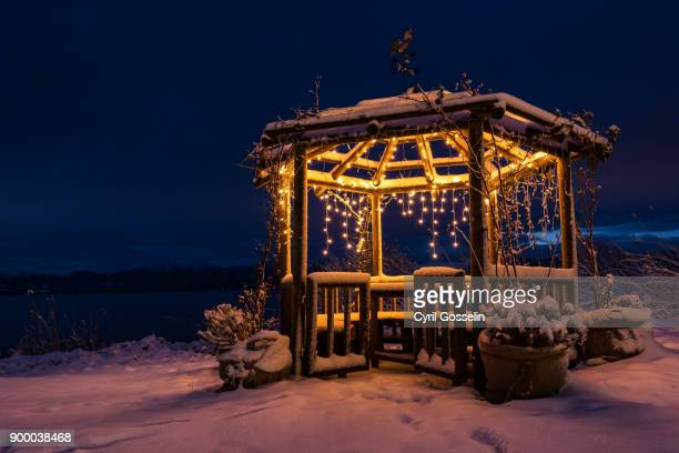 gazebo at lake chiemsee - mere noel stock pictures, royalty-free photos & images