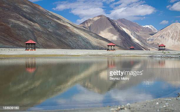 Gazebo at Pangong Lake.  Ladakh, India.