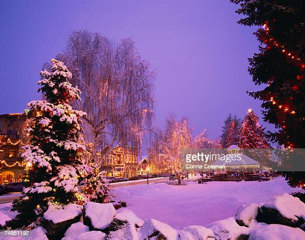 gazebo decorated with christmas lights in snow covered park - leavenworth washington stock photos and pictures