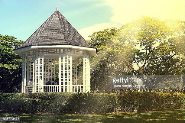 Gazebo In Park By Trees Against Sky