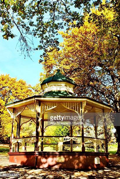 Gazebo In Park During Autumn