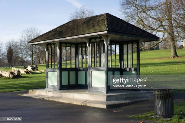 gazebo in park in sunlight - brixton stock pictures, royalty-free photos & images