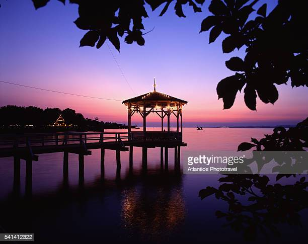 gazebo on lake constance at twilight - bregenz stockfoto's en -beelden
