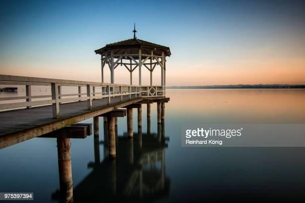 gazebo on pier over lake constance, bregenz, voralrberg, austria - bregenz stockfoto's en -beelden