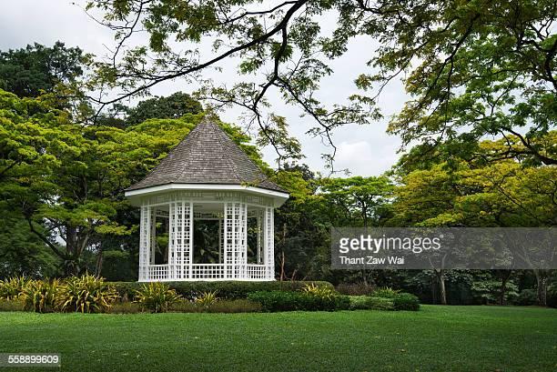 a gazebo - singapore botanic gardens stock photos and pictures