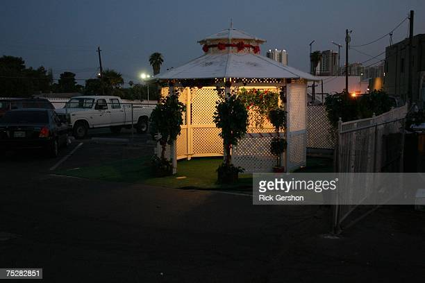 Gazebo stands outside of the Las Vegas Garden of Love Wedding Chapel on July 7 2007 in Las Vegas Nevada Wedding planners say a flood of couples were...