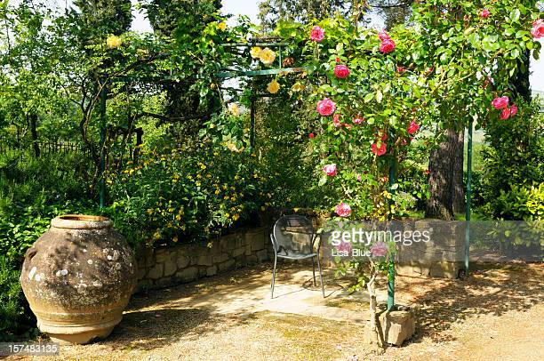 gazebo with roses - italian culture stock pictures, royalty-free photos & images