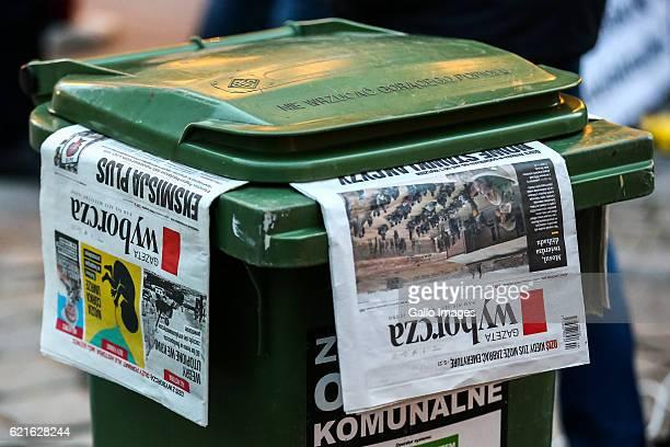 Gazeta Wyborcza in a trashcan during Adam Michnik's lecture at the Wroclaw University on November 03 2016 in Wroclaw Poland Michik is a Polish...