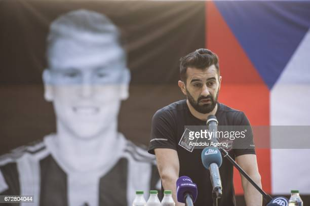 Gaziantepsor Captain Elyasa Sume speaks during a memorial ceremony held for Czech football player Frantisek Rajtoral who was found dead Sunday in his...