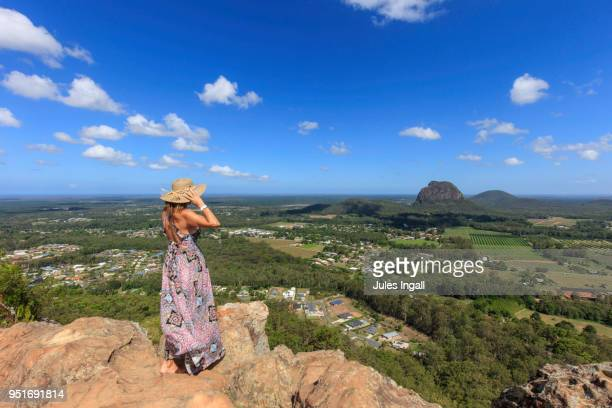 gazing across glass house mountains - glass house mountains stock pictures, royalty-free photos & images