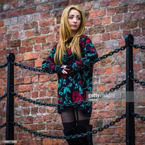 gazing into the distance - models in stockings stock pictures, royalty-free photos & images