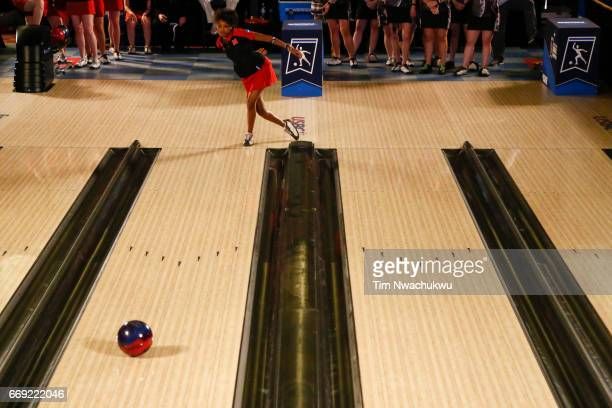Gazmine Mason of the Nebraska Cornhuskers bowls during the Division I Women's Bowling Championship held at the Baton Rouge River Center on April 15...
