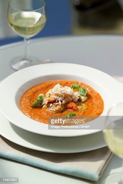 Gazpacho with fish, shellfish and basil
