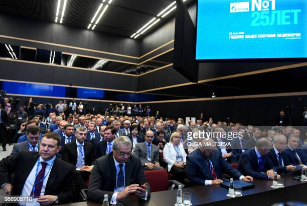 Gazprom's shareholders attend the annual general shareholders meeting at the Expoforum Convention Center in Saint Petersburg on 29 June 2018