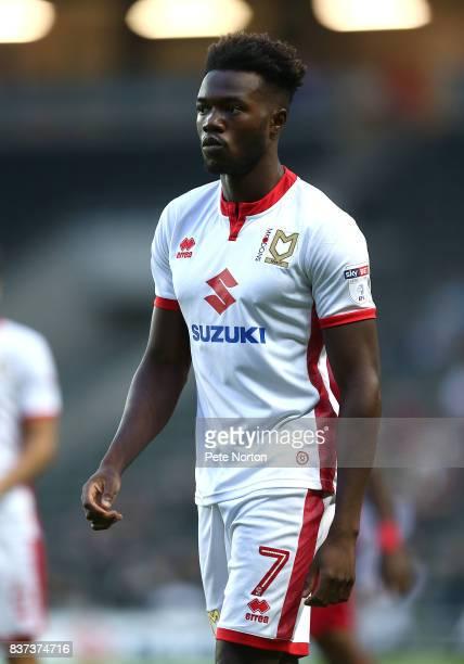 Gboly Ariyibi of Milton Keynes Dons in action d match between Milton Keynes Dons and Swansea City at StadiumMK on August 22 2017 in Milton Keynes...