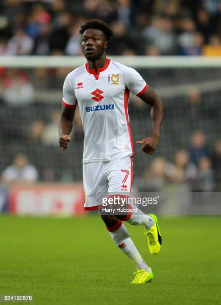 Gboly Ariyibi of MK Dons in action during the preseason friendly match between MK Dons and Leicester City at StadiumMK on July 28 2017 in Milton...