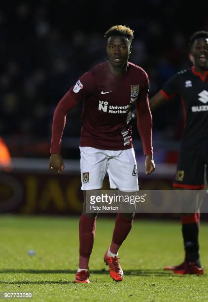 Gboly Ariyibi of Northampton Town in action during the Sky Bet League One match between Northampton Town and Milton Keynes Dons at Sixfields on...