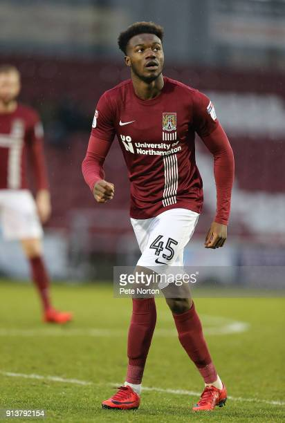 Gboly Ariyibi of Northampton Town in action during the Sky Bet League One match between Northampton Town and Rochdale at Sixfields on February 3 2018...