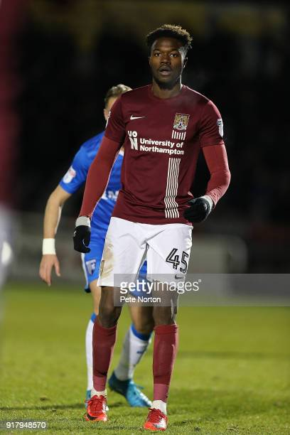 Gboly Ariyibi of Northampton Town in action during the Sky Bet League One match between Northampton Town and Gillingham at Sixfields on February 13...