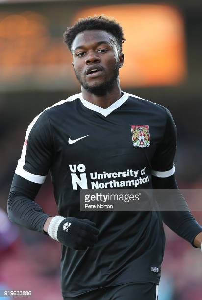 Gboly Ariyibi of Northampton Town in action during the Sky Bet League One match between Scunthorpe United and Northampton Town at Glanford Park on...