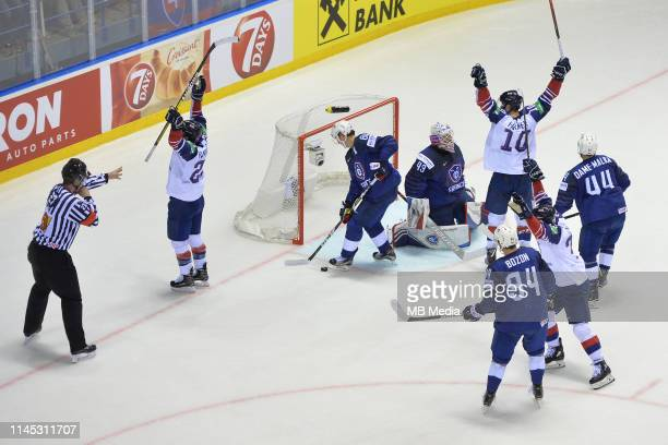 GBs Mike Hammond and his team mates celebrate his goal during the 2019 IIHF Ice Hockey World Championship Slovakia group A game between France and...